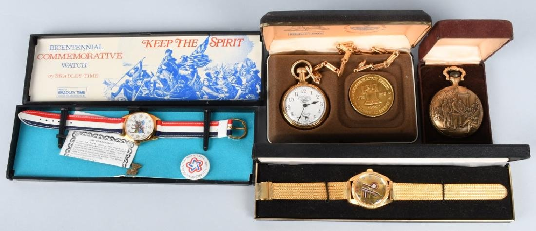 2- 1976 WATCHES & 2 POCKET WATCHES