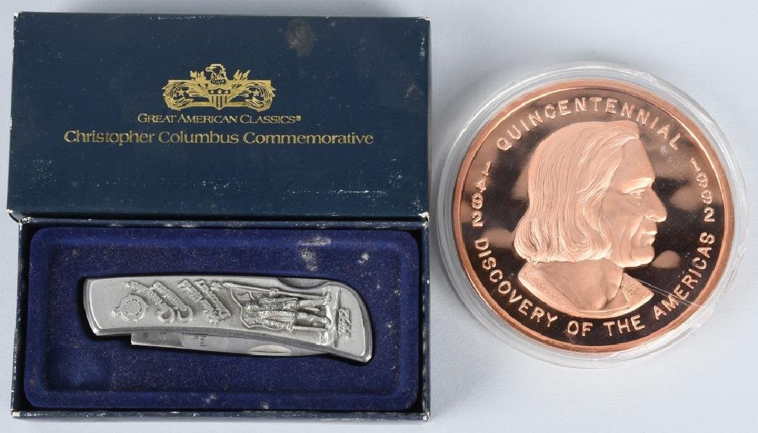 CHRISTOPHER COLUMBUS KNIFE & 16oz COIN