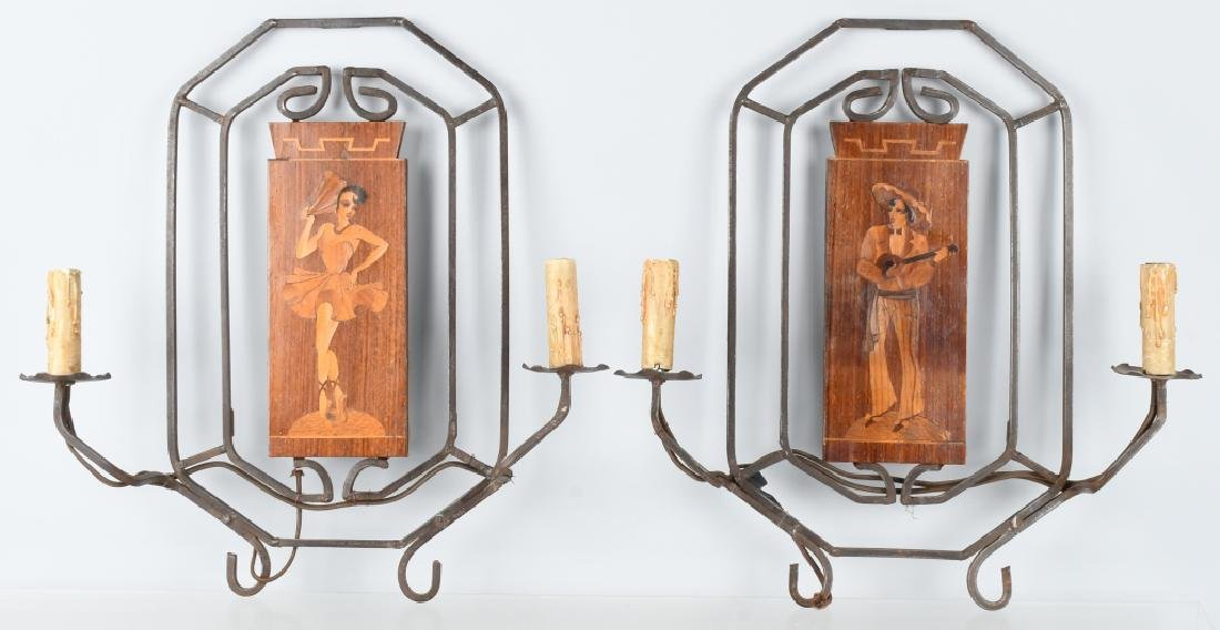 ARTS & CRAFTS IRON and INLAID WOOD SCONCES