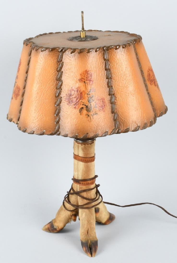 VINTAGE DEER HOOF LAMP and SHADE