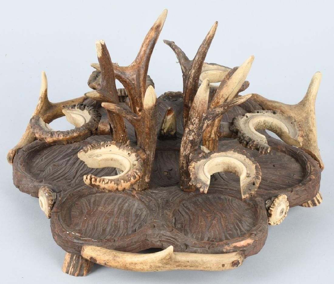 BLACK FOREST CARVED WOOD & ANTLER CRUET TRAY