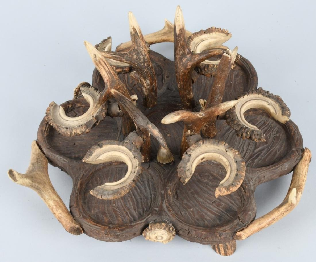 BLACK FOREST CARVED WOOD & ANTLER CRUET TRAY - 4