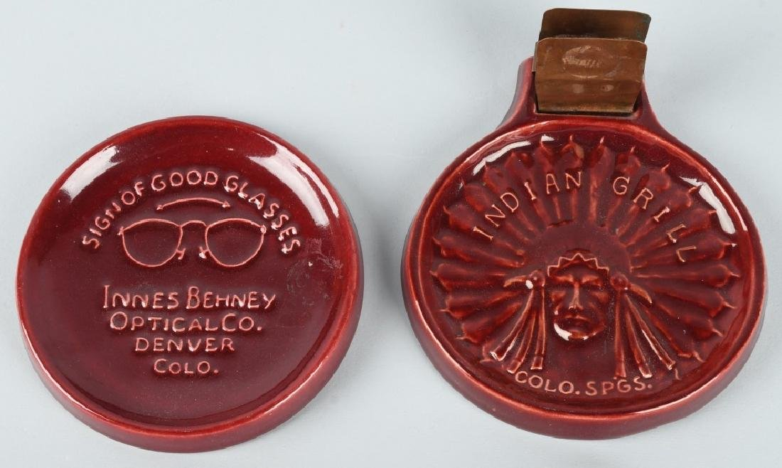 2-BROADMOOR POTTERY ADVERTISING ASHTRAYS
