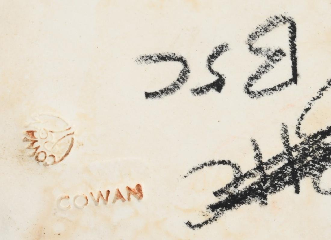 COWAN POTTERY ORANGE BRASS DRAPED SERVING BOWL - 6