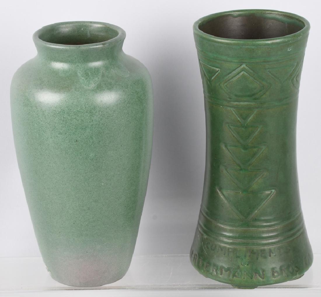 2-GREEN POTTERY VASES, FULPER & BERTERMANN