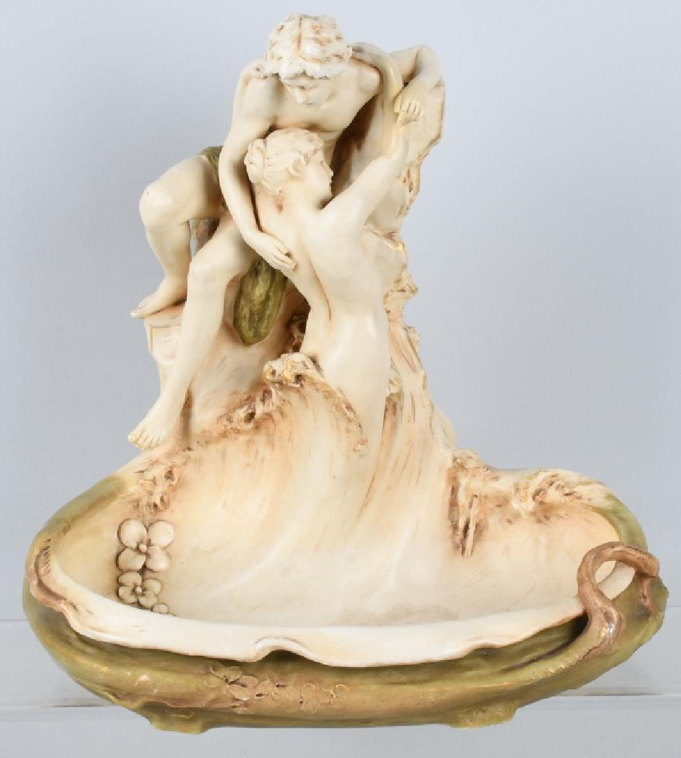 LARGE ROYAL DUX FIGURAL NUDE COUPLE BOWL