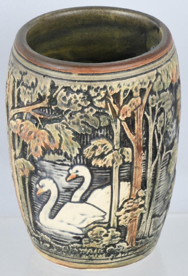 WELLER POTTERY KNIFEWOOD RAISED RELIEF SWANS VASE