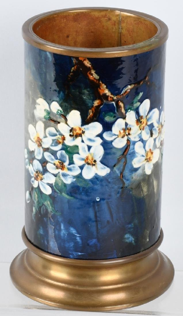 ROOKWOOD PAINTED VASE, w/ BRASS LINER AND BASS