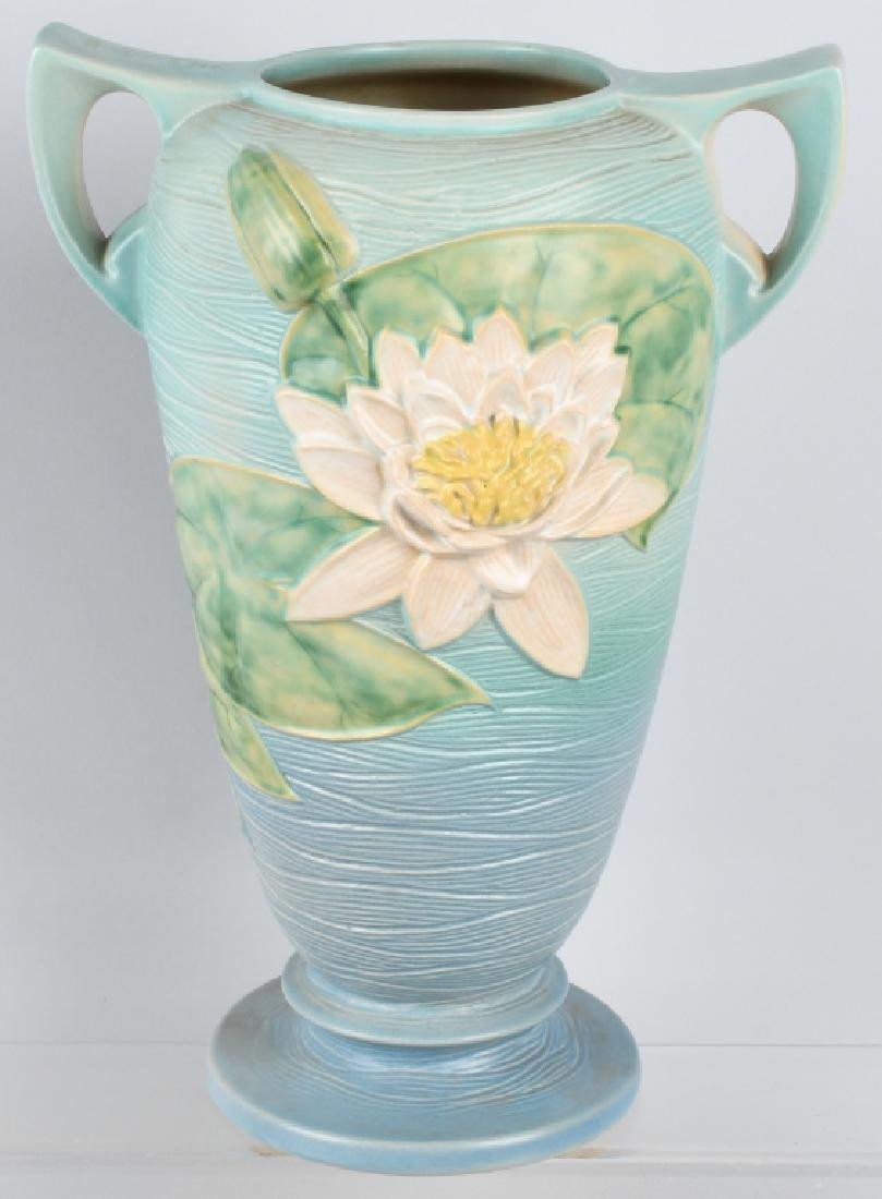 LARGE ROSEVILLE WATER LILY HANDLED VASE
