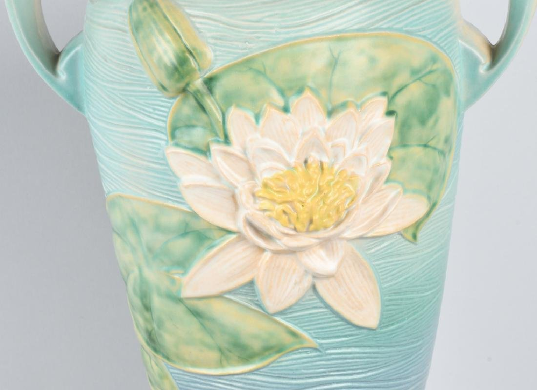 LARGE ROSEVILLE WATER LILY HANDLED VASE - 2