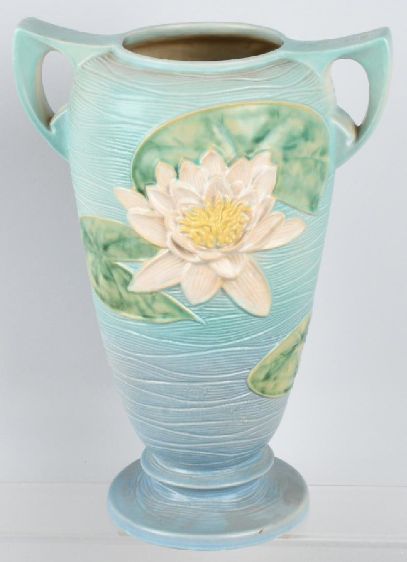 LARGE ROSEVILLE WATER LILY HANDLED VASE - 3
