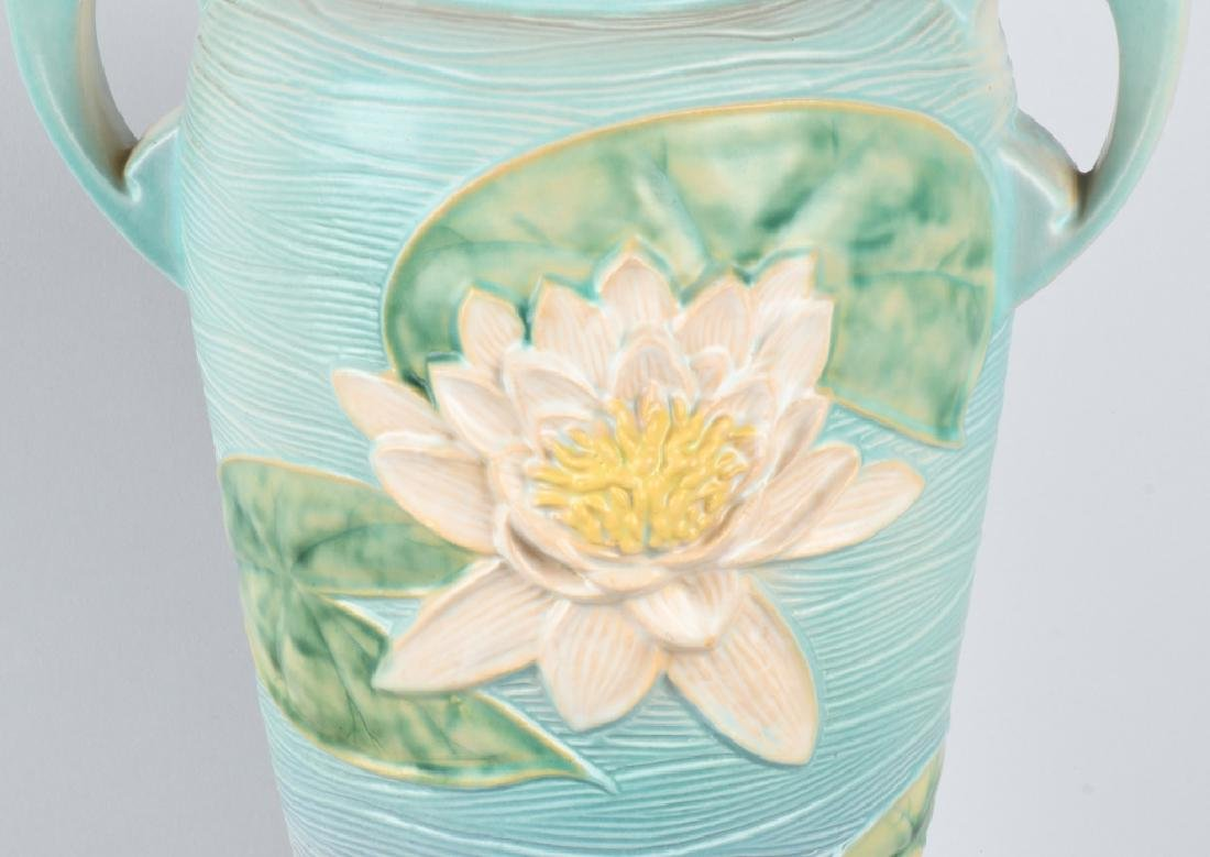 LARGE ROSEVILLE WATER LILY HANDLED VASE - 4