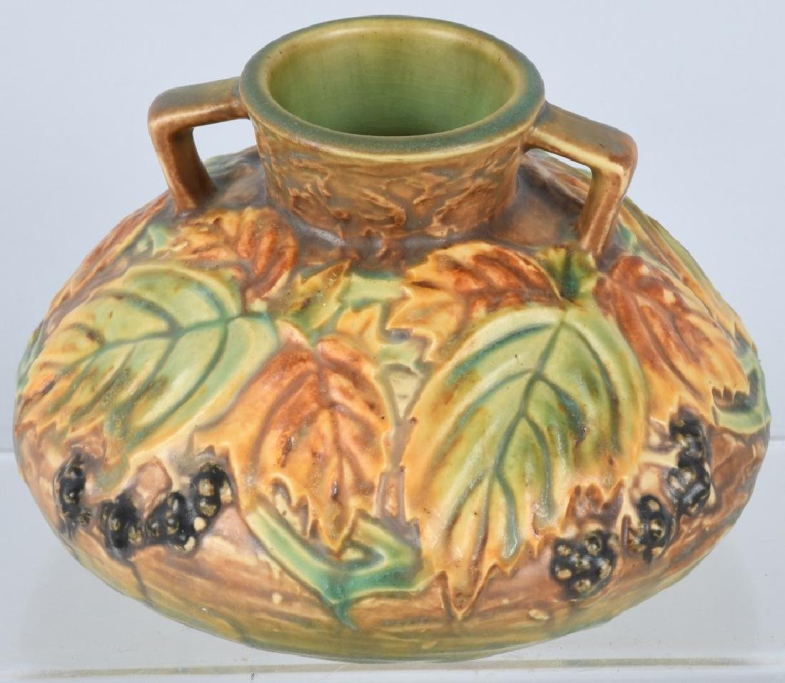 ROSEVILLE BLACKBERRY HANDLED VASE