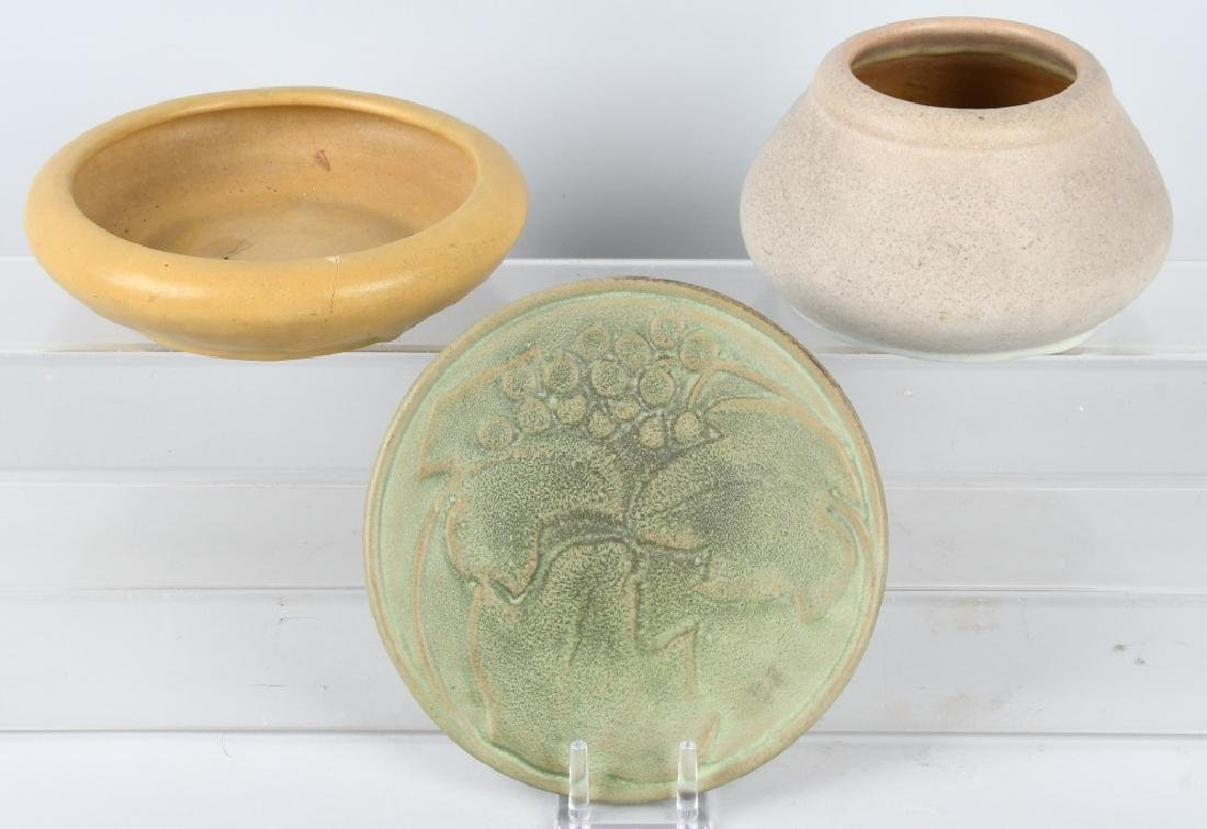 3-VAN BRIGGLE POTTERY ITEMS, BOWL, PLATE & VASE