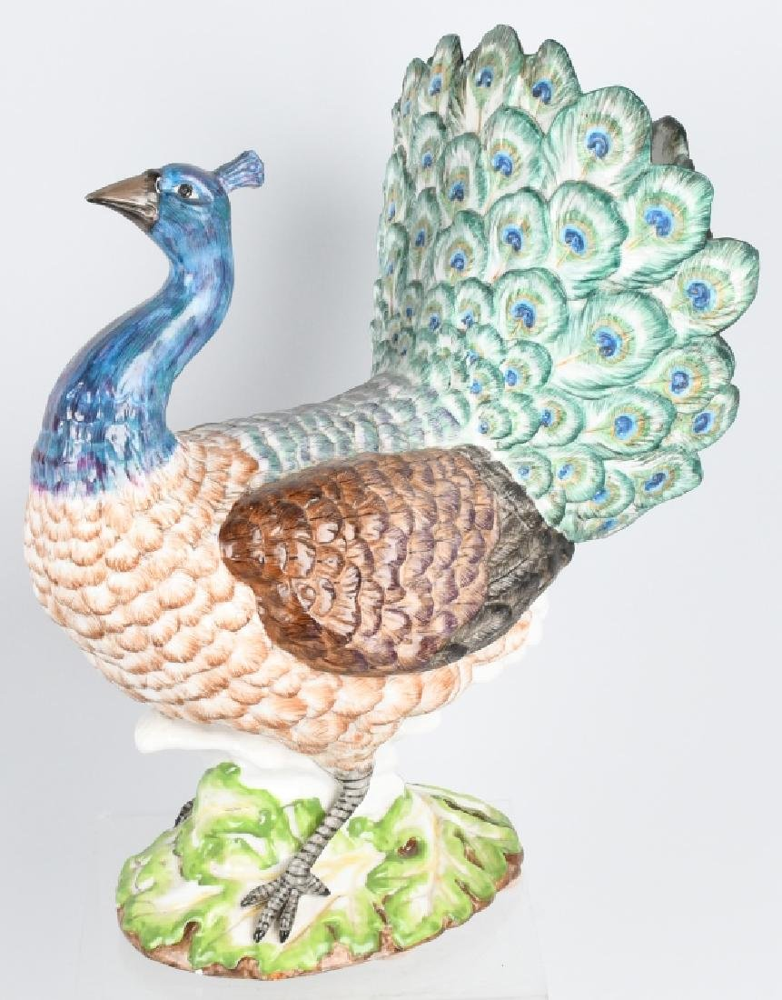 LARGE PEACOCK PAINTED CERAMIC VASE