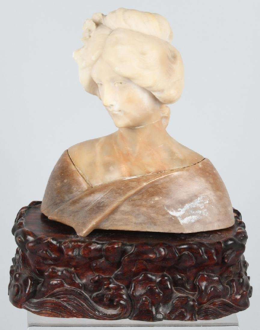 CARVED MARBLE BUST of WOMAN, VINTAGE