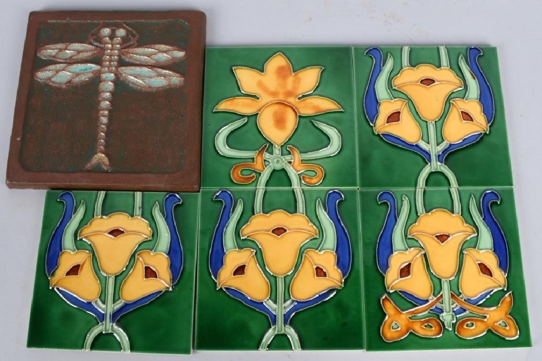 6-VINTAGE PAINTED POTTERY TILES, DRAGONFLY & MORE