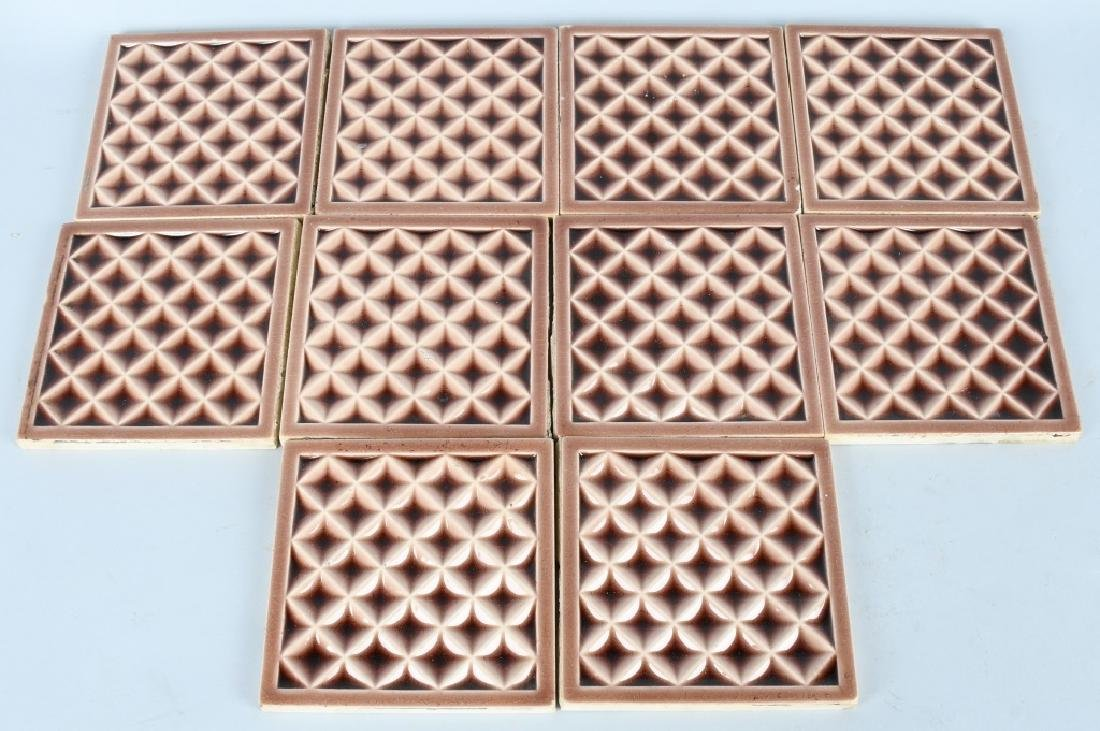 10-VINTAGE PAINTED POTTERY TILES, AE TILE CO.