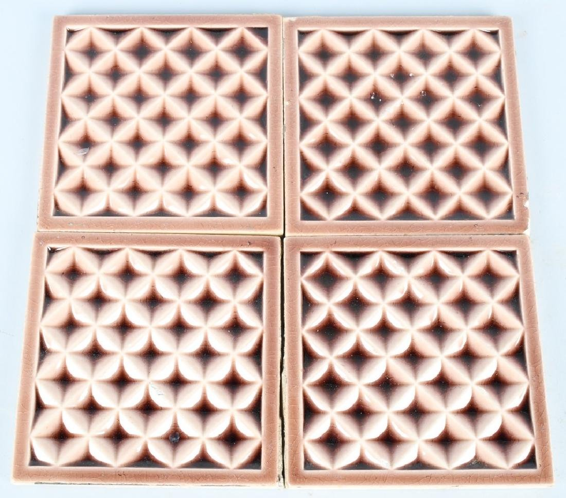 10-VINTAGE PAINTED POTTERY TILES, AE TILE CO. - 2