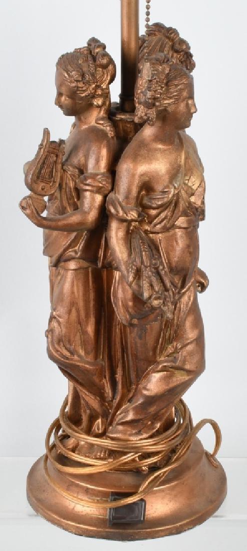 CAST METAL LAMP BASE with 3 GREEK WOMEN - 3