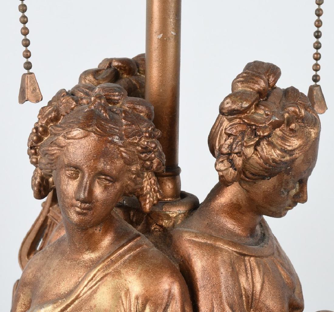 CAST METAL LAMP BASE with 3 GREEK WOMEN - 5