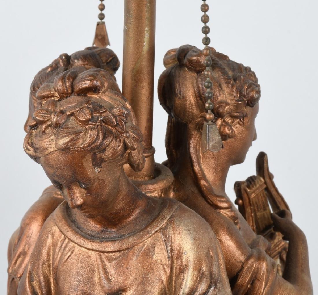 CAST METAL LAMP BASE with 3 GREEK WOMEN - 6