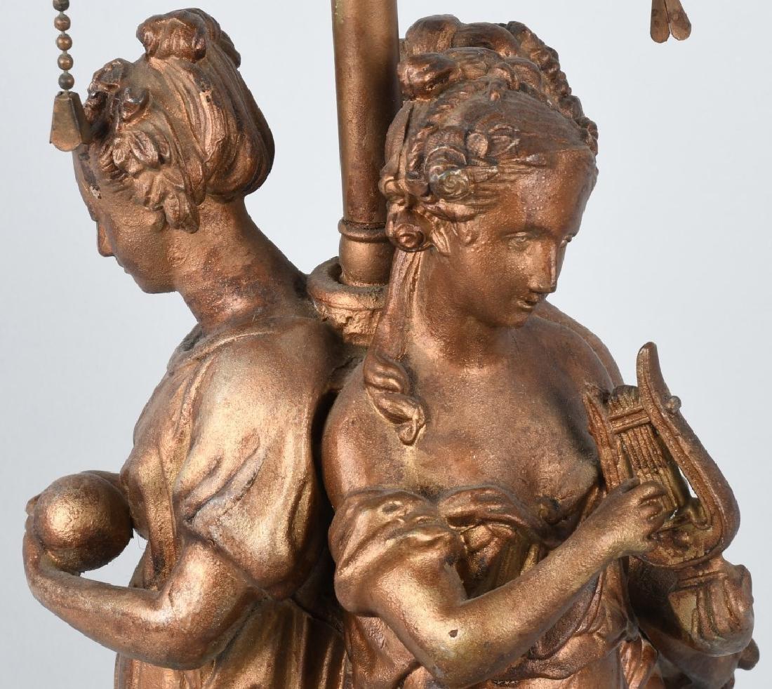 CAST METAL LAMP BASE with 3 GREEK WOMEN - 7