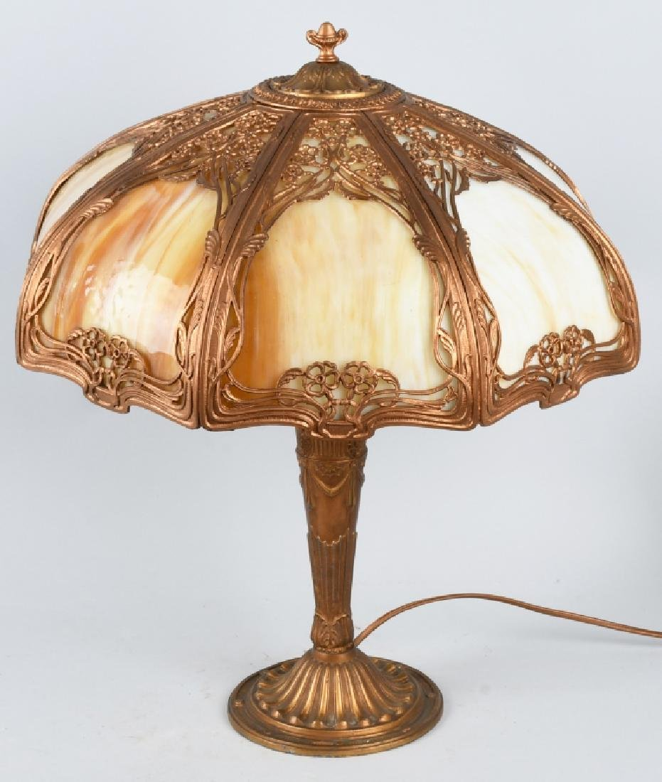 ANITQUE SLAG GLASS LAMP