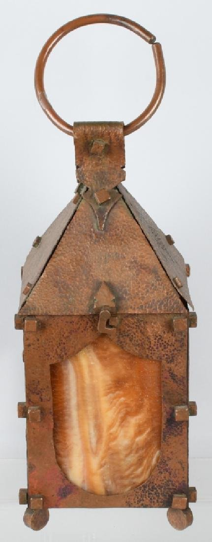 ARTS & CRAFTS COPPER SLAG GLASS LANTERN