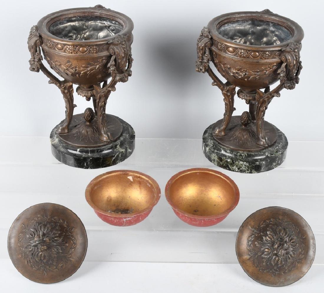 PAIR of ANTIQUE ORNATE CAST METAL URNS - 7