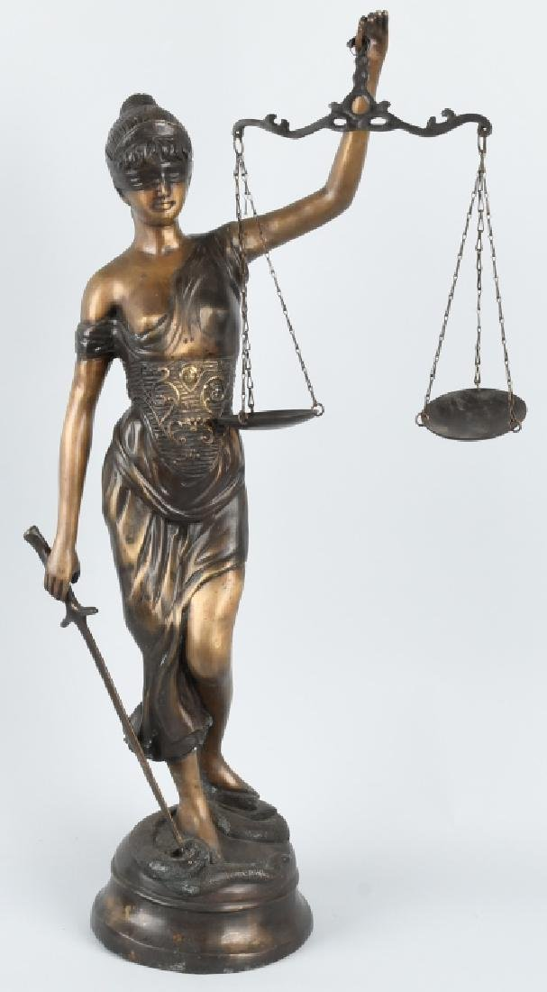 LARGE CAST METAL BLIND LADY JUSTICE STATUE