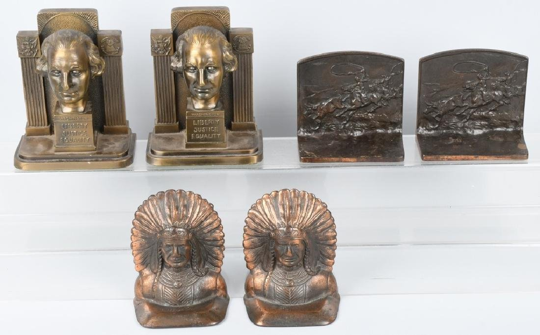 3-PAIRS of CAST METAL BOOKENDS