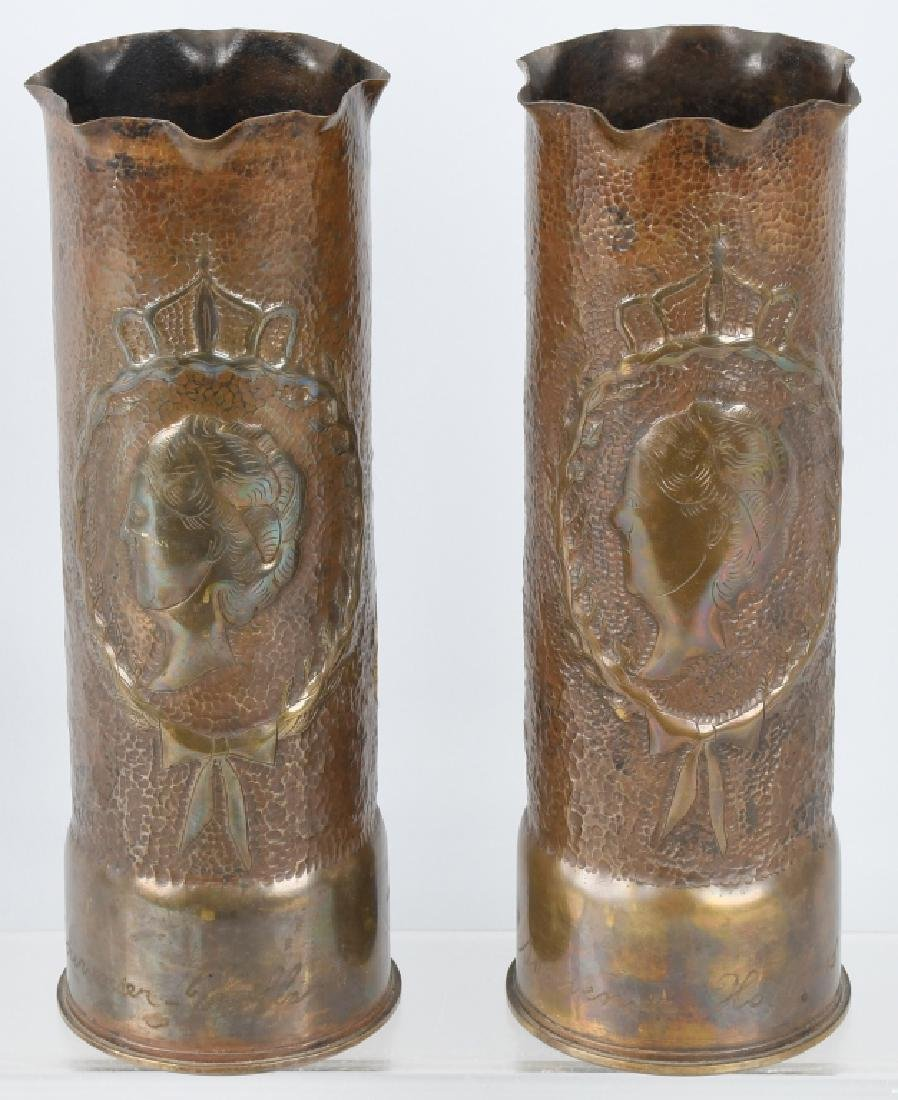 WW2 TRENCH ART VASES from HOLLAND, 1943 & 1944