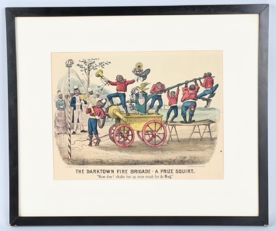 1885 CURRIER & IVES DARKTOWN FIRE BRIGADE