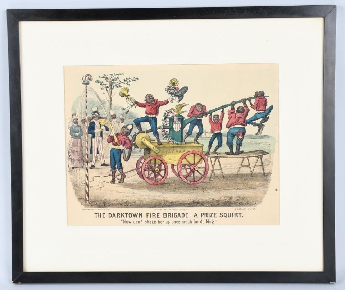 1885 CURRIER & IVES DARKTOWN FIRE BRIGADE