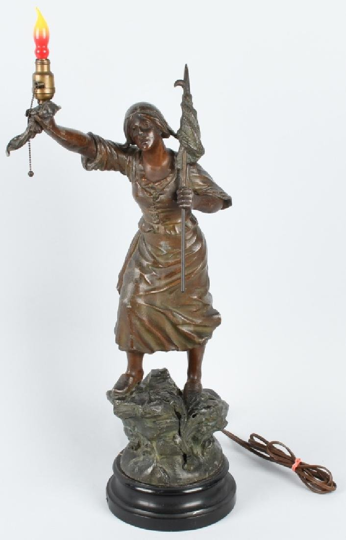 ANTIQUE METAL STATUE WOMAN w/ FLAG & TORCH, LAMP