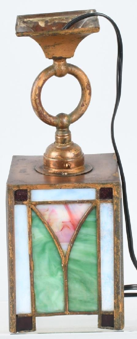 ANTIQUE STAINED GLASS SMALL CEILING LIGHT