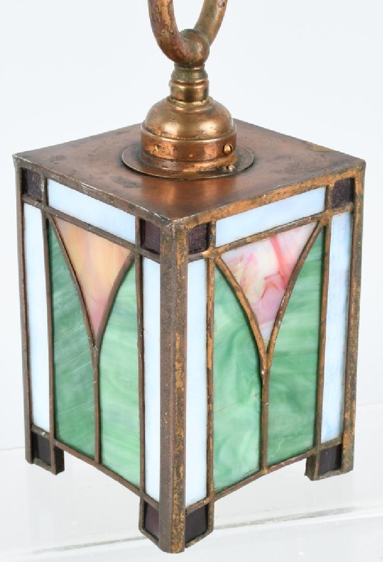 ANTIQUE STAINED GLASS SMALL CEILING LIGHT - 2