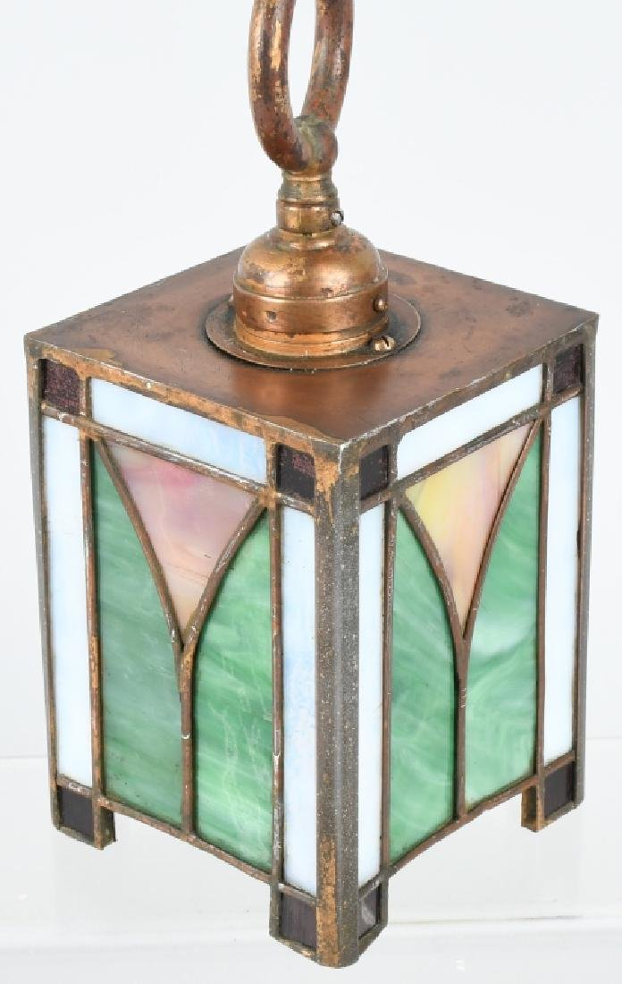 ANTIQUE STAINED GLASS SMALL CEILING LIGHT - 3