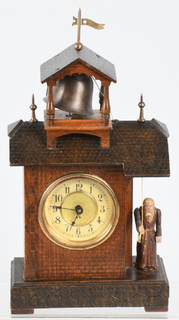 HAMBURG GERMANY ANIMATED MONK RINGNG BELL CLOCK