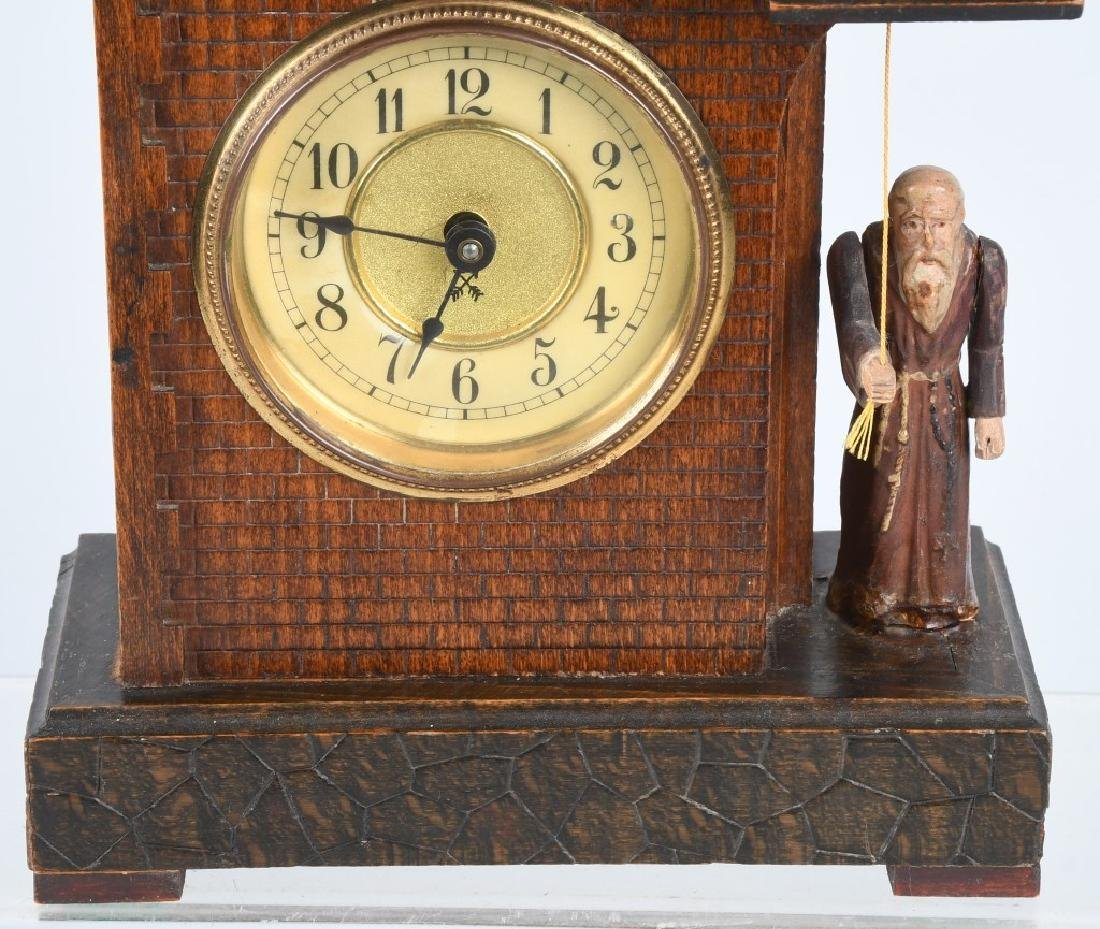 HAMBURG GERMANY ANIMATED MONK RINGNG BELL CLOCK - 3