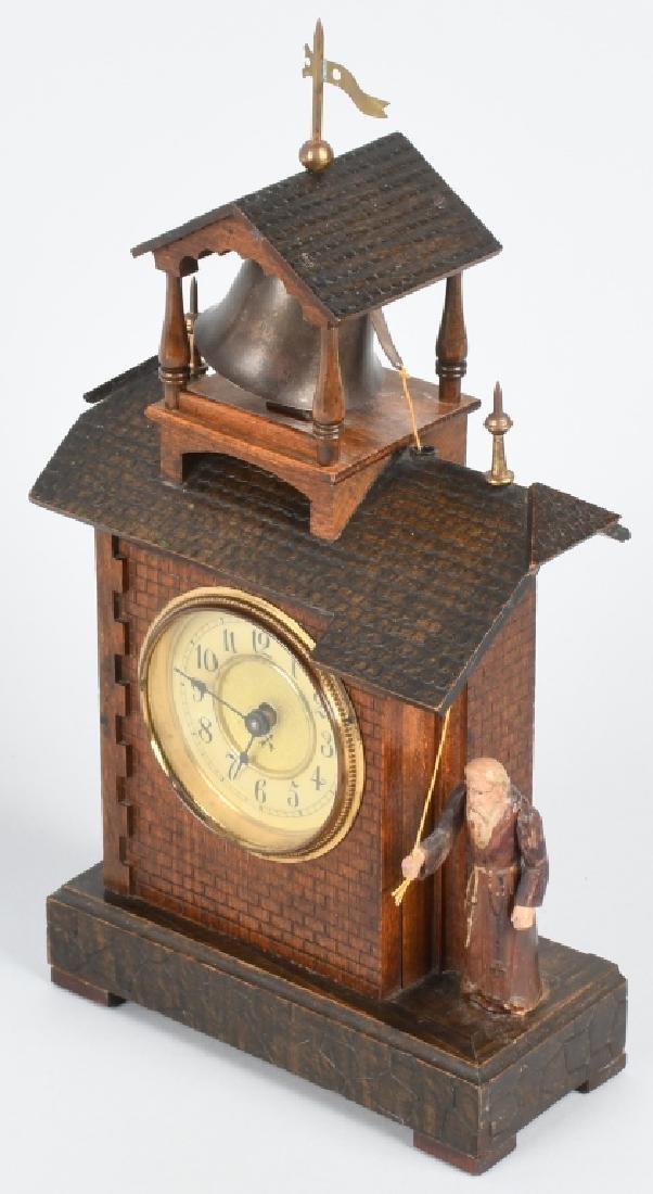 HAMBURG GERMANY ANIMATED MONK RINGNG BELL CLOCK - 5