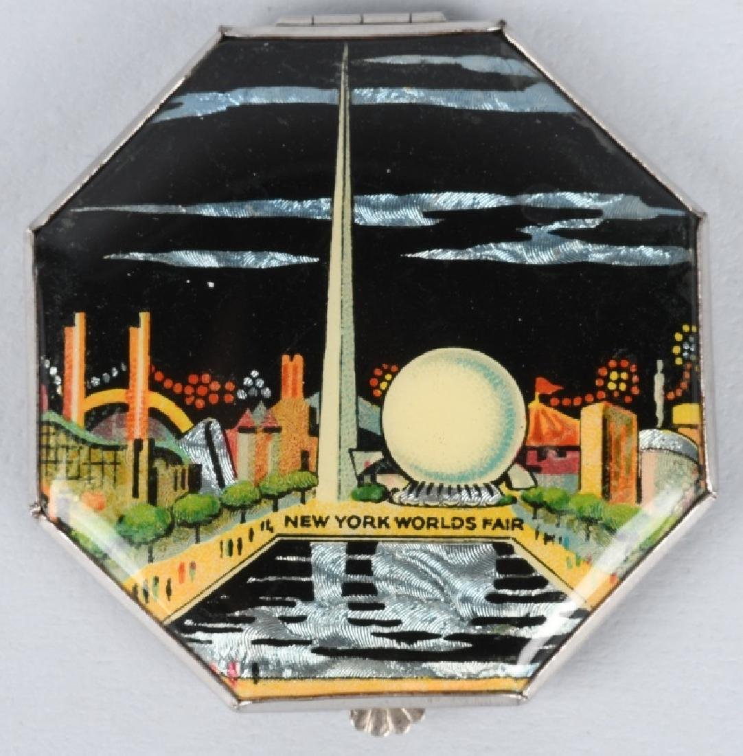 1939 WORLDS FAIR COMPACT w/ MOTHER OF PEARL