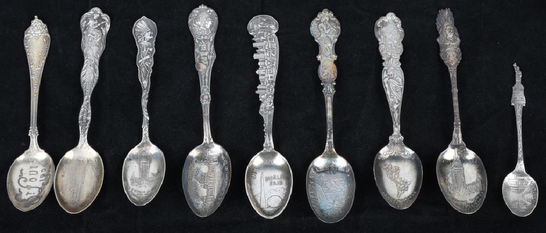 9-STERLING SILVER WORLD'S FAIR & EXPO SPOONS