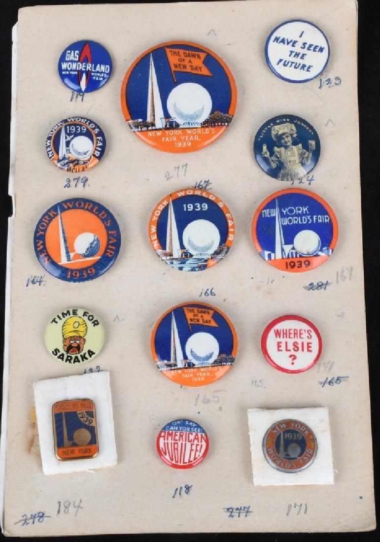 1939 NEW YORK WORLD'S FAIR PIN BACK BUTTON LOT