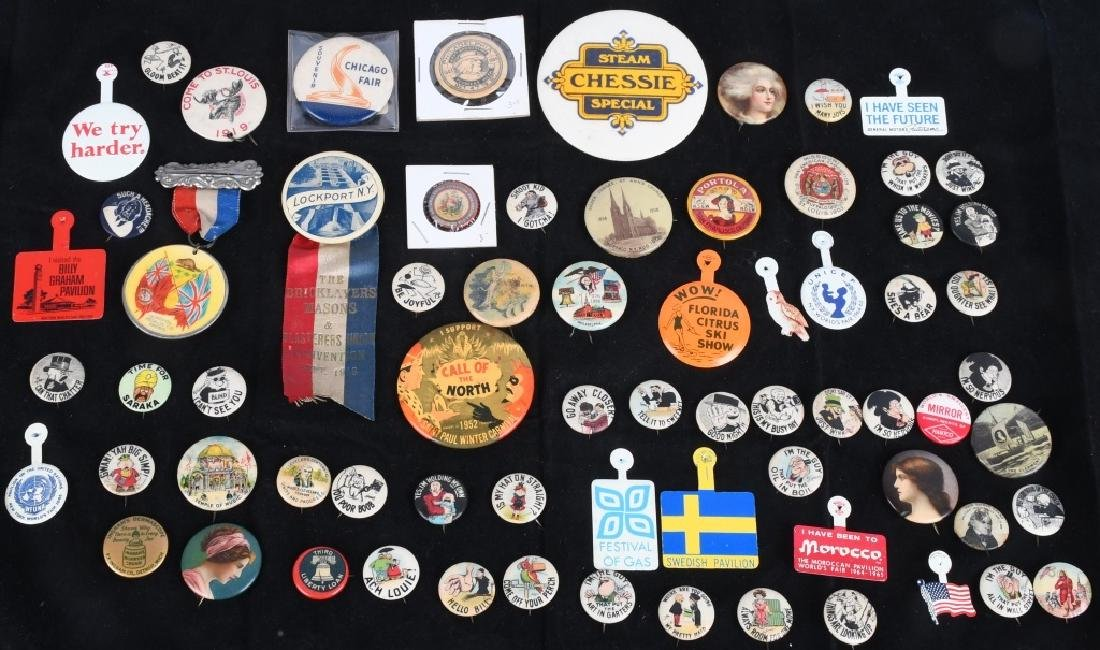 LARGE VINTAGE PINBACK BUTTON LOT