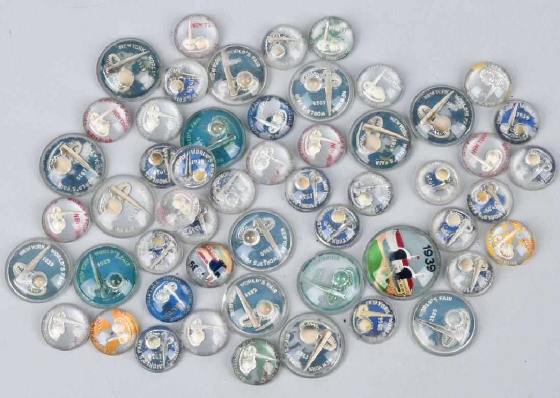50+ 1939 NEW YORK WORLD'S FAIR GLASS BUTTONS