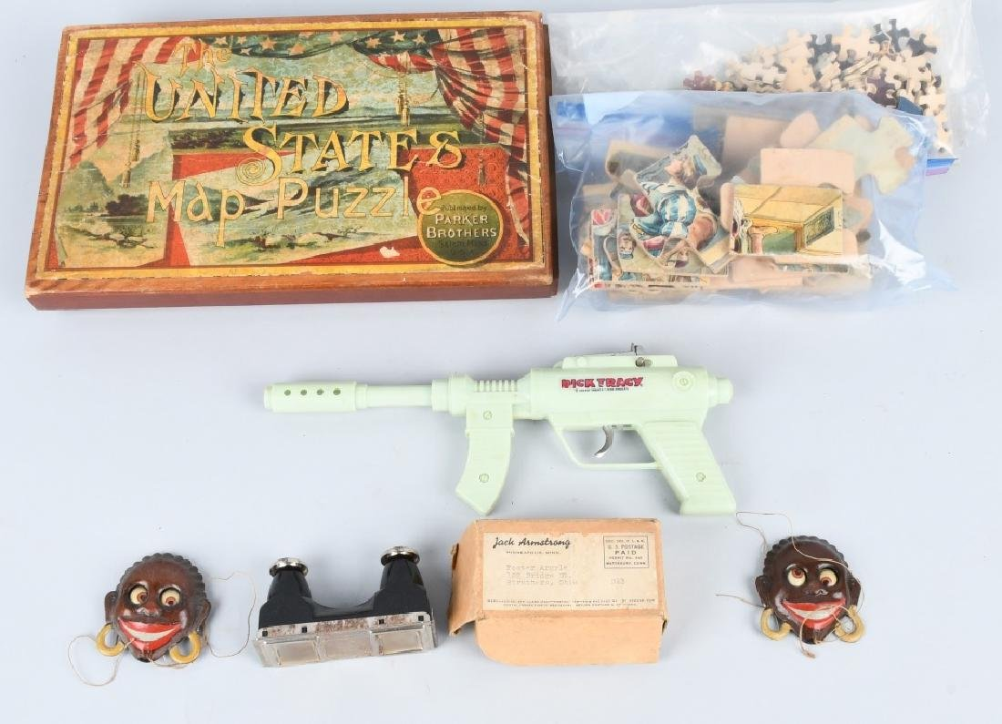 VINTAGE TOY LOT, TIN, PUZZLES and MORE