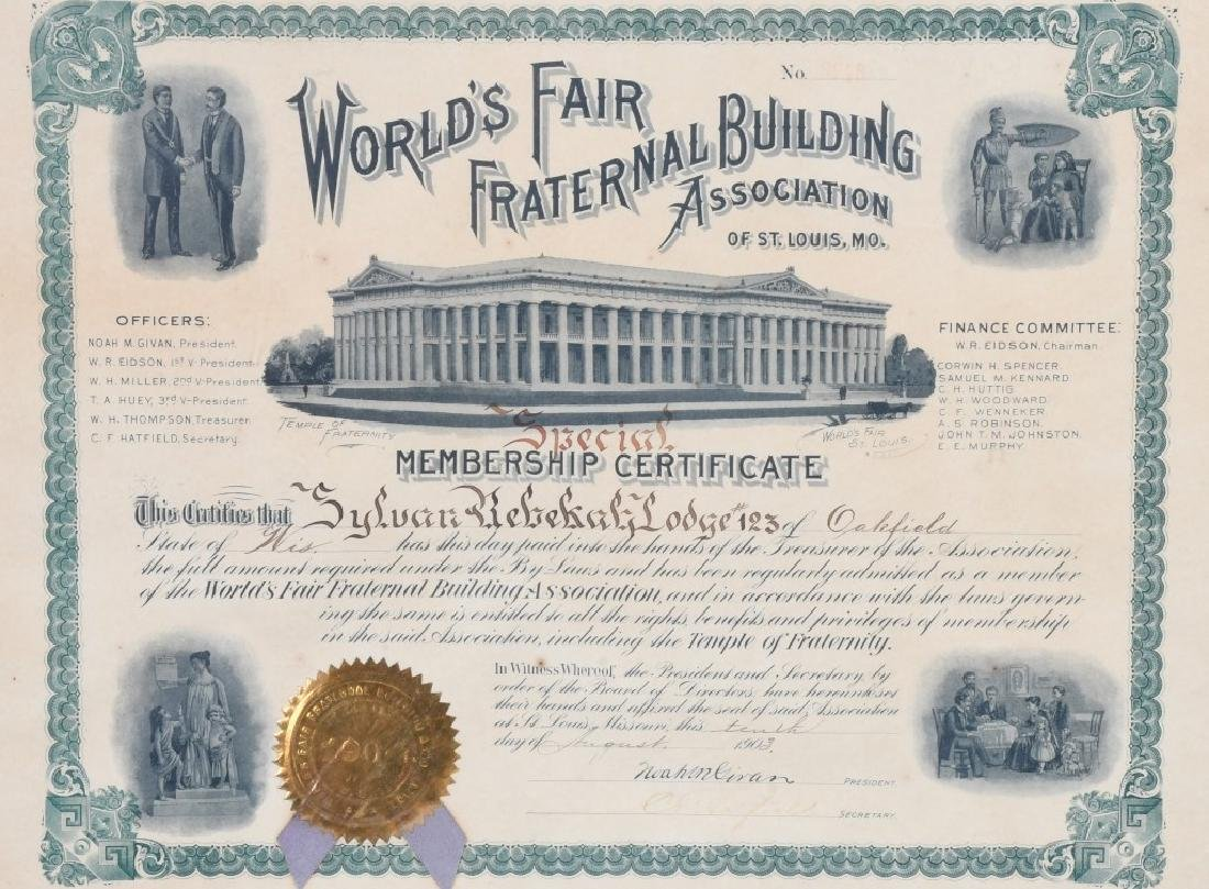 ST. LOUIS WORLD'S FAIR MEMBERSHIP CERTIFICATE - 3
