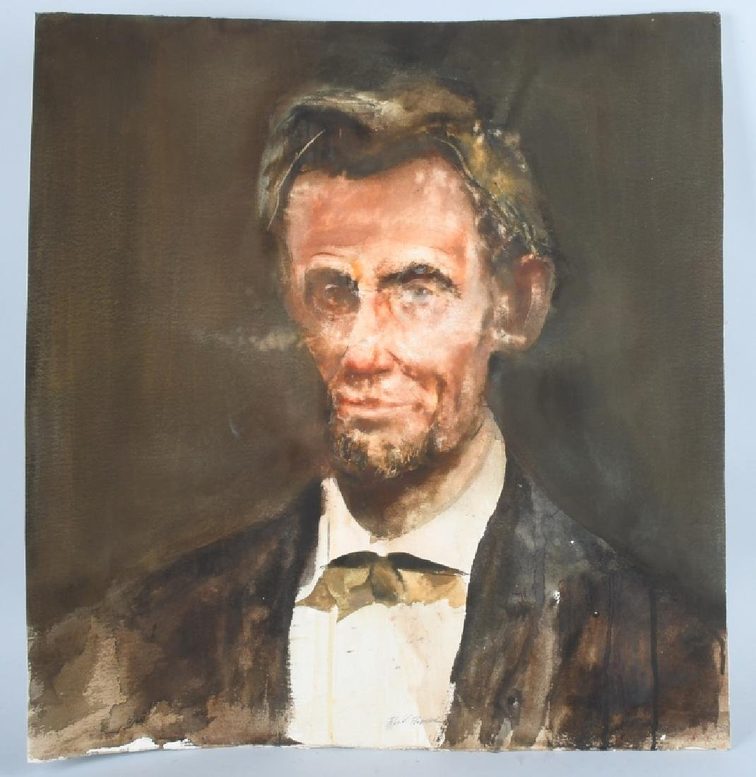 ABRAHAM LINCOLN WATER COLOR PAINTING, REA REDIFER